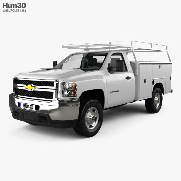 Chevrolet Silverado 2500HD Work Truck with HQ interior 2011 3D model