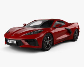 3D model of Chevrolet Corvette Stingray with HQ interior and Engine 2020