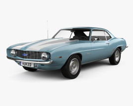 3D model of Chevrolet Camaro 350 coupe 1969