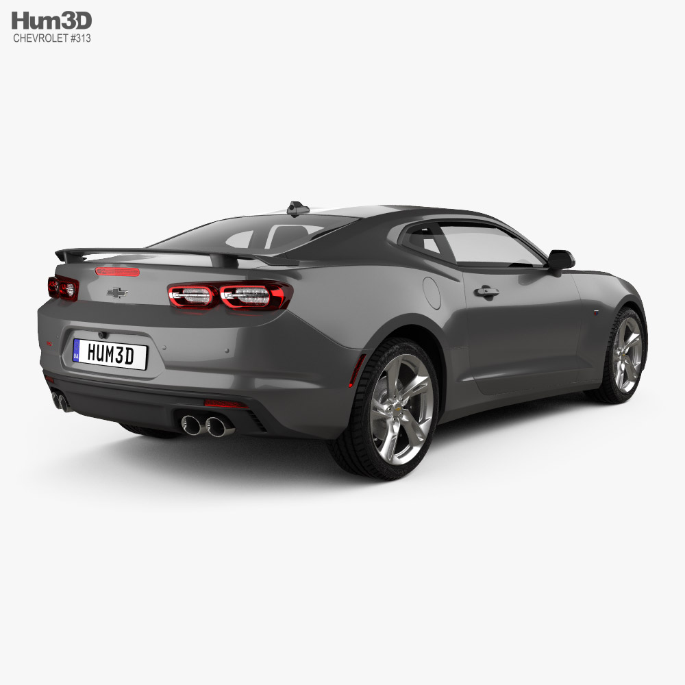 Chevrolet Camaro SS with HQ interior and engine 2020 3d model back view