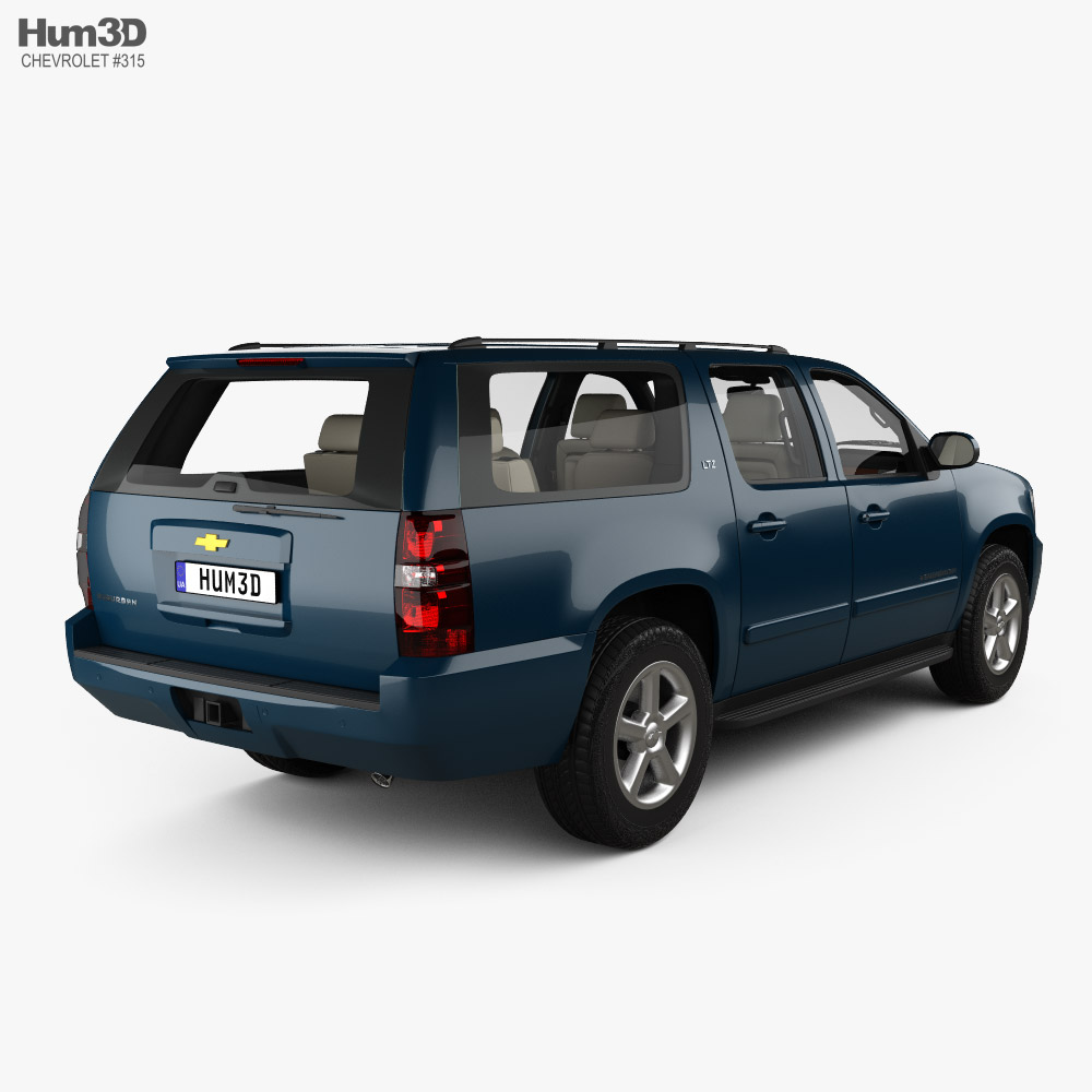 Chevrolet Suburban LTZ with HQ interior and engine 2010 3d model back view