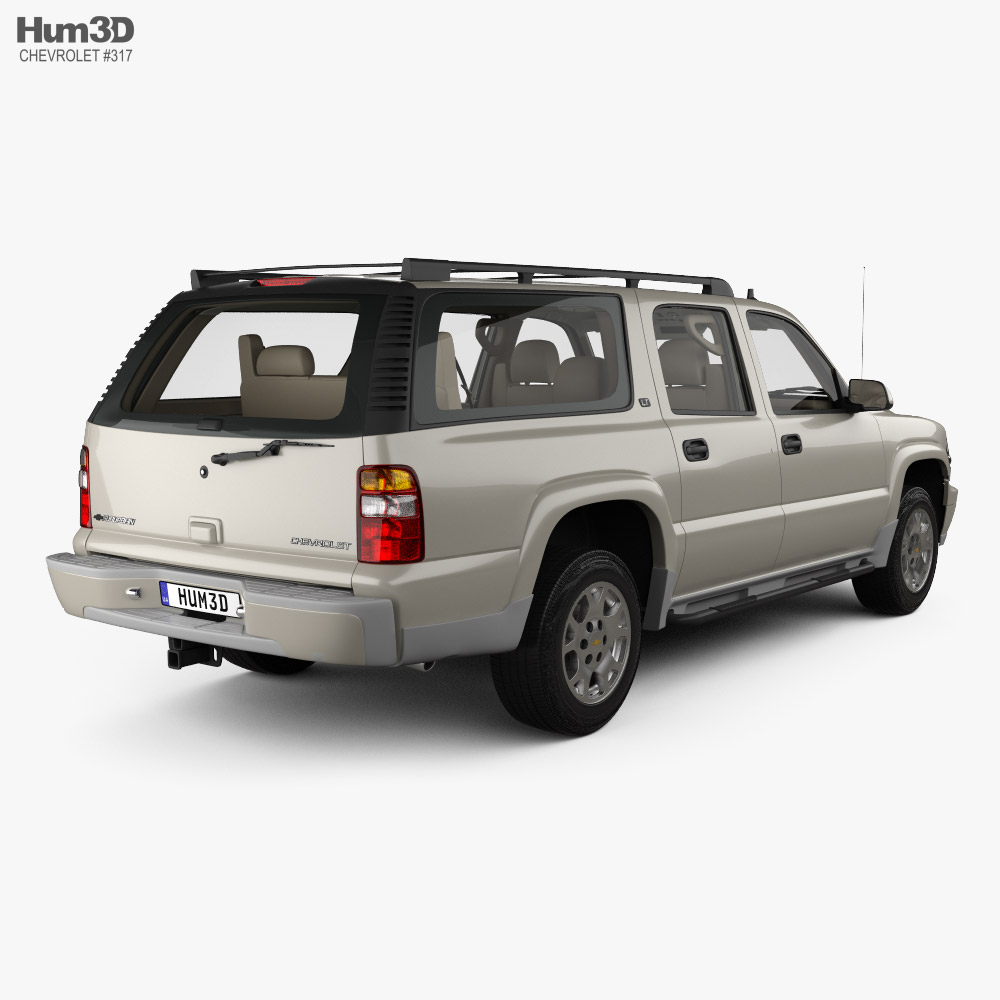 Chevrolet Suburban LT with HQ interior 2005 3d model back view
