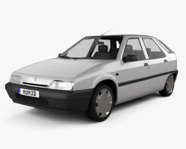 3D model of Citroen ZX 5-door hatchback 1991