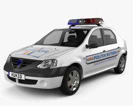 3D model of Dacia Logan Police Romania sedan 2004
