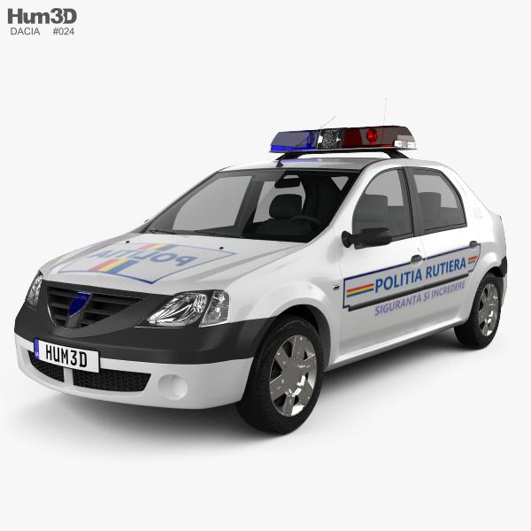 3D model of Dacia Logan Police Romania sedan 2004