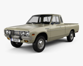 3D model of Datsun 620 King Cab with HQ interior and engine 1977