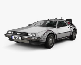 3D model of Back to the Future DeLorean car