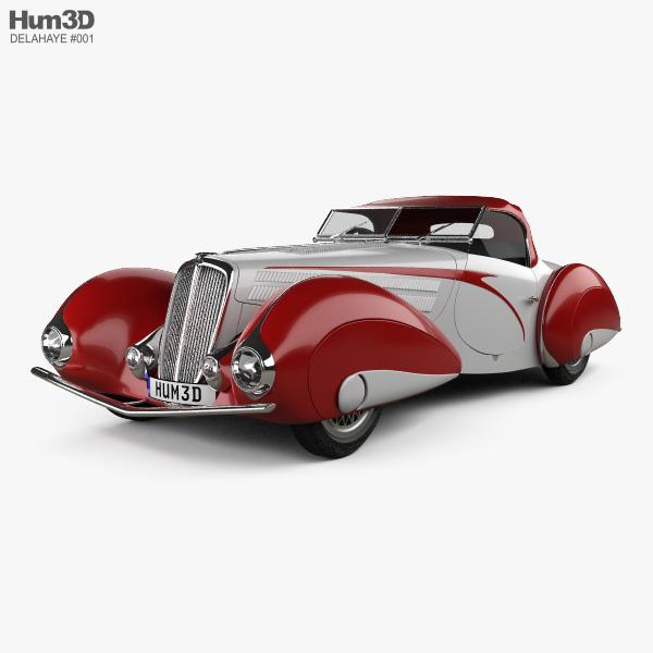 3D model of Delahaye 135M Figoni and Falaschi Convertible 1937