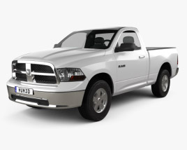 3D model of Dodge Ram 1500 Regular Cab SLT 6-foot 4-inch Box 2012