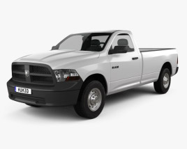 3D model of Dodge Ram 1500 Regular Cab ST 8-foot Box 2012