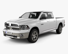3D model of Dodge Ram 1500 Crew Cab Big Horn 5-foot 7-inch Box 2012