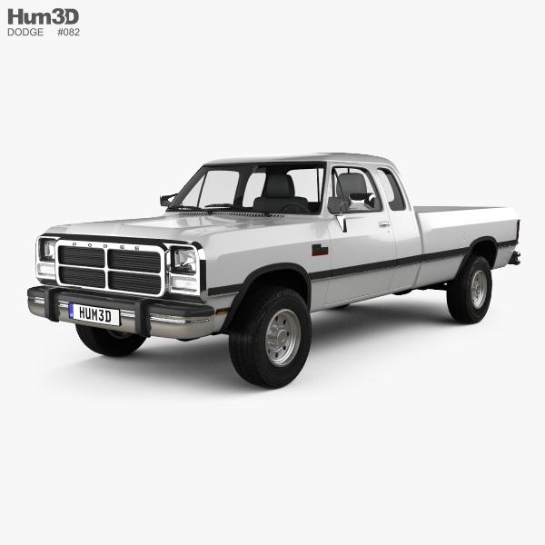 Dodge Ram Club Cab 1991 3D model