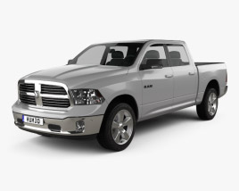 3D model of Dodge Ram 1500 Crew Cab Big Horn 2017