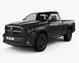 3D model of Dodge Ram 1500 Regular Cab Express Blackline 2017