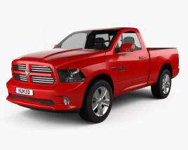 3D model of Dodge Ram 1500 Regular Cab Sports 2017