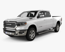 3D model of Dodge Ram 1500 Crew Cab Laramie Longhorn 6-foot 4-inch Box 2019