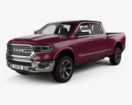 3D model of Dodge Ram 1500 Crew Cab 6-foot 4-inch Box Limited 2019