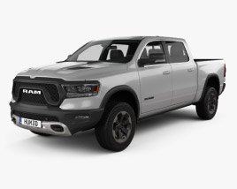3D model of Dodge Ram 1500 Crew Cab Rebel 5-foot 7-inch Box 2019