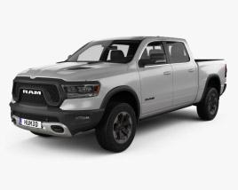 3D model of Dodge Ram 1500 Crew Cab Rebel 5-foot 7-inch Box 2019
