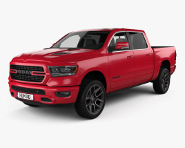 3D model of Dodge Ram 1500 Crew Cab Sport 5-foot 7-inch Box 2019