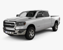 3D model of Dodge Ram 1500 Quad Cab Big Horn 6-foot 4-inch Box 2019