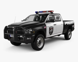 Dodge Ram Crew Cab Police with HQ interior 2016 3D model