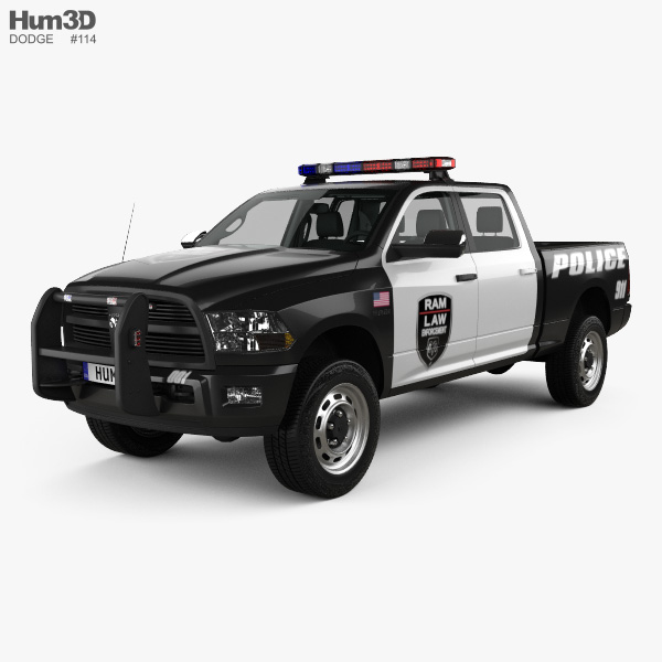Dodge Ram Crew Cab Police with HQ interior 2016 3D model