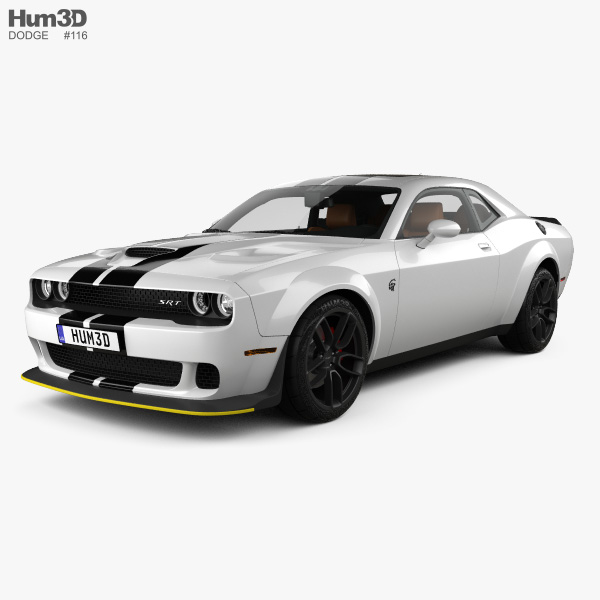 3D model of Dodge Challenger SRT Hellcat WideBody with HQ interior 2018