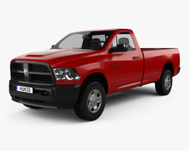 3D model of Dodge Ram 3500 Regular Cab pickup 2014