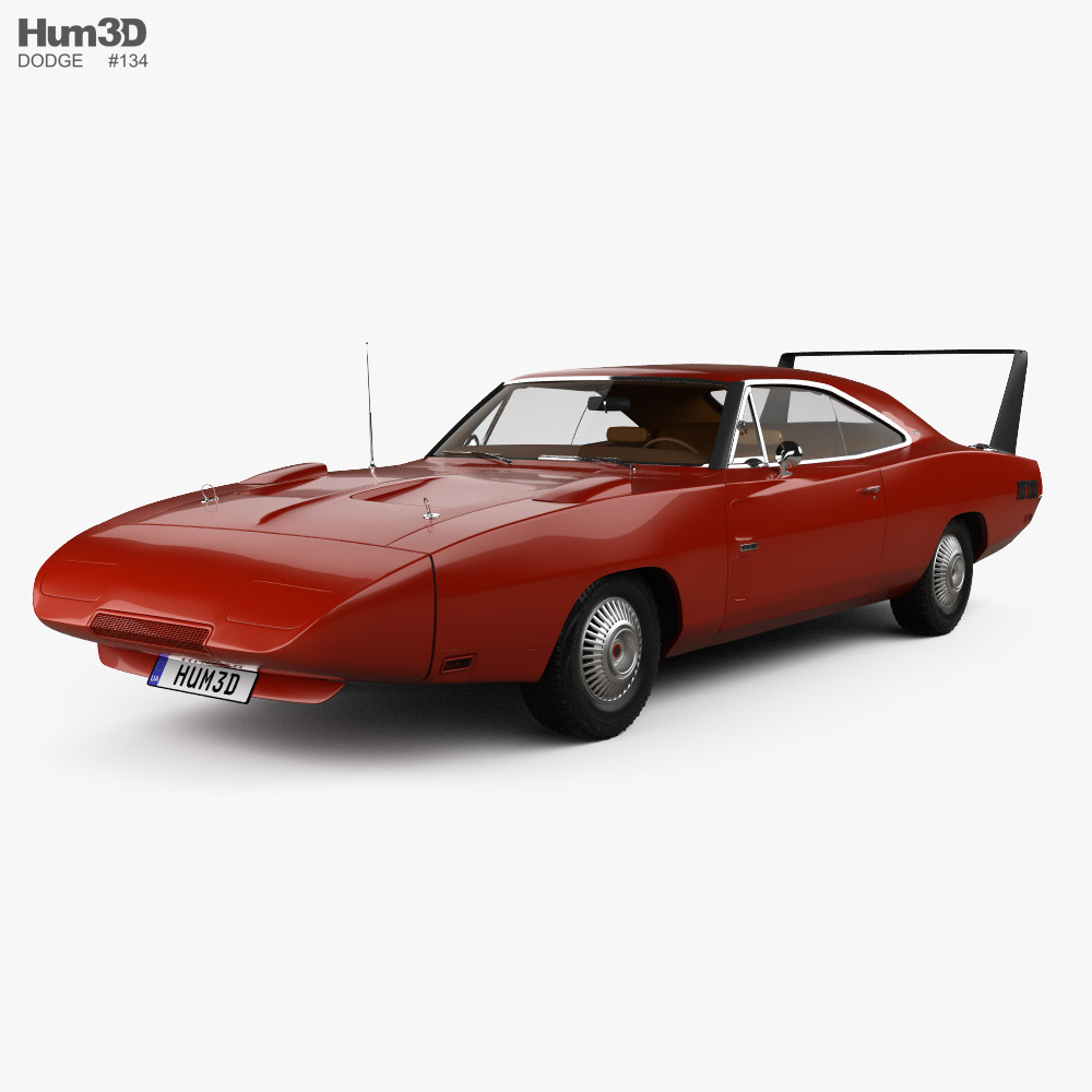 3D model of Dodge Charger Daytona Hemi with HQ interior 1969