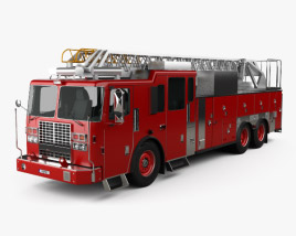 3D model of Ferrara Ultra HD-100 Rear Mount Aerial Ladder Firetruck 2013