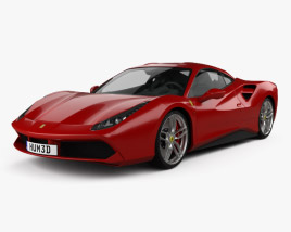 3D model of Ferrari 488 GTB with HQ interior 2016