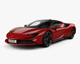 3D model of Ferrari SF90 Stradale with HQ interior and engine 2020