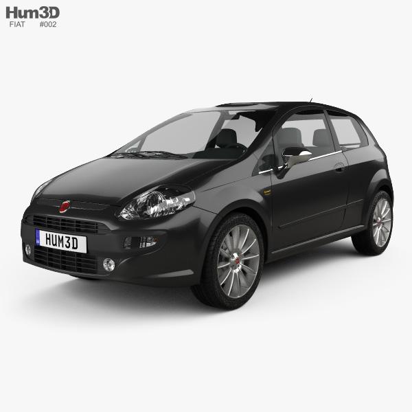 3D model of Fiat Punto Evo 3-door 2010