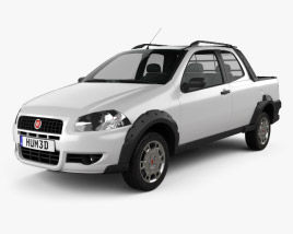 3D model of Fiat Strada Long Cab Working 2012