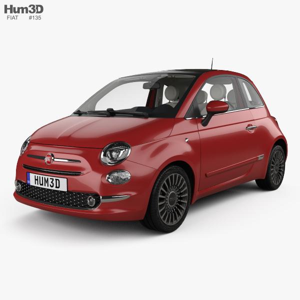 Fiat 500 with HQ interior 2015 3D model
