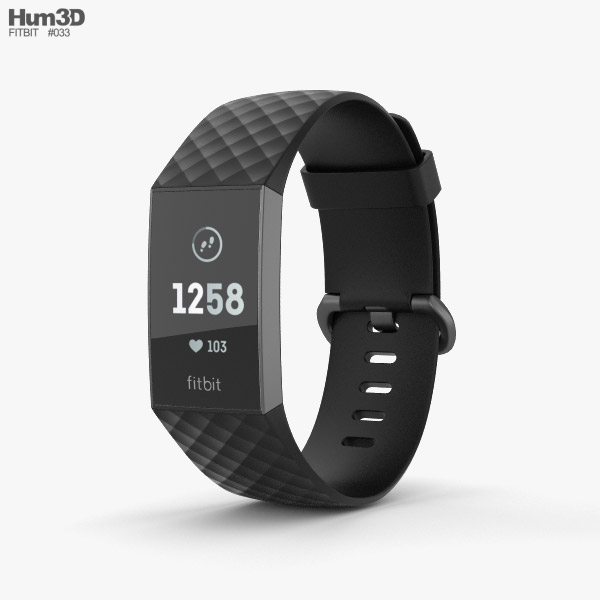 3D model of Fitbit Charge 3 Black