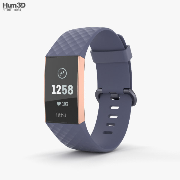 3D model of Fitbit Charge 3 Blue