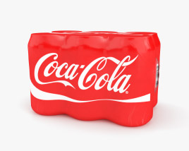 Plastic Shrink Wrapped Coca-Cola Cans Pack 3D model