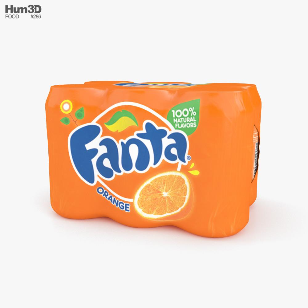Plastic Shrink Wrapped Fanta Cans Pack 3D model
