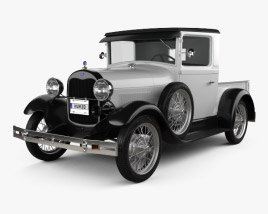 3D model of Ford Model A Pickup Closed Cab 1928