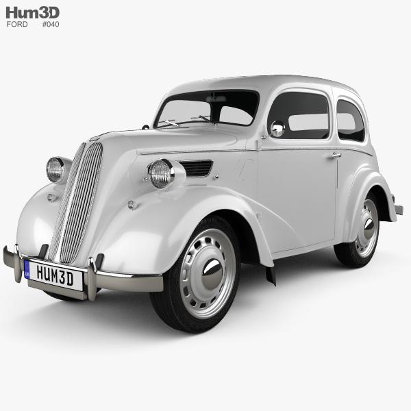 Ford Anglia E494A 2-door Saloon 1949 3D model
