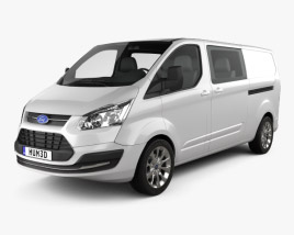 3D model of Ford Transit Custom Crew Van LWB 2013