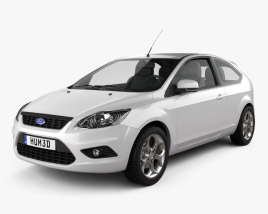 3D model of Ford Focus hatchback 3-door 2008