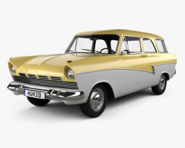 3D model of Ford Taunus P2 17M kombi 1957