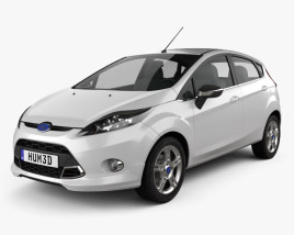 3D model of Ford Fiesta Zetec 5-door hatchback 2012