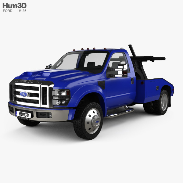 3D model of Ford Super Duty F-550 Tow Truck with HQ interior 2005