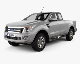3D model of Ford Ranger Super Cab 2011
