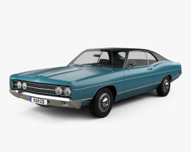 3D model of Ford Galaxie 500 fastback 1969