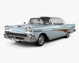 3D model of Ford Fairlane 500 Sunliner 1958